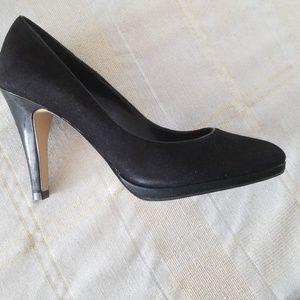 Franco Sarto black suede 4 inch heels